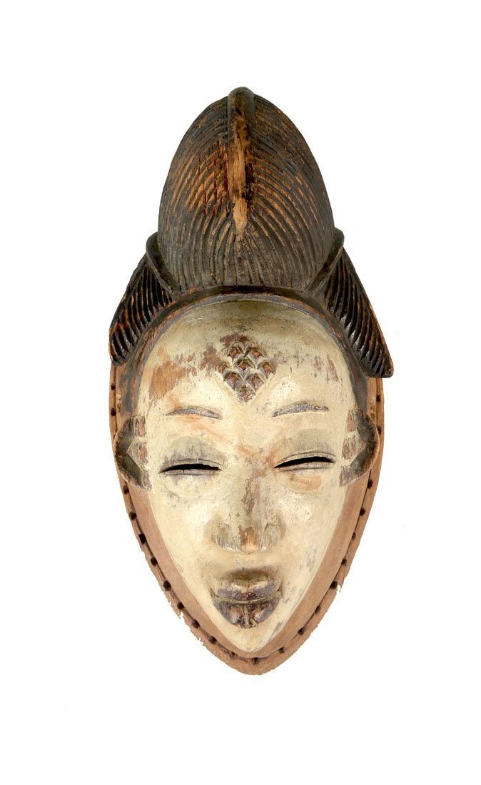 WEST AFRICAN PUNU CARVED WHITE FACE MASK