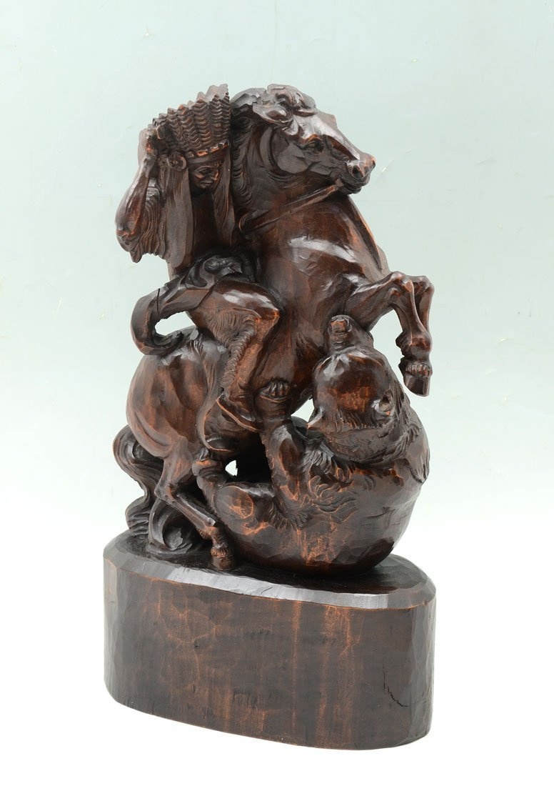 FOLK ART CARVING BEAR ATTACKING INDIAN ON HORSE