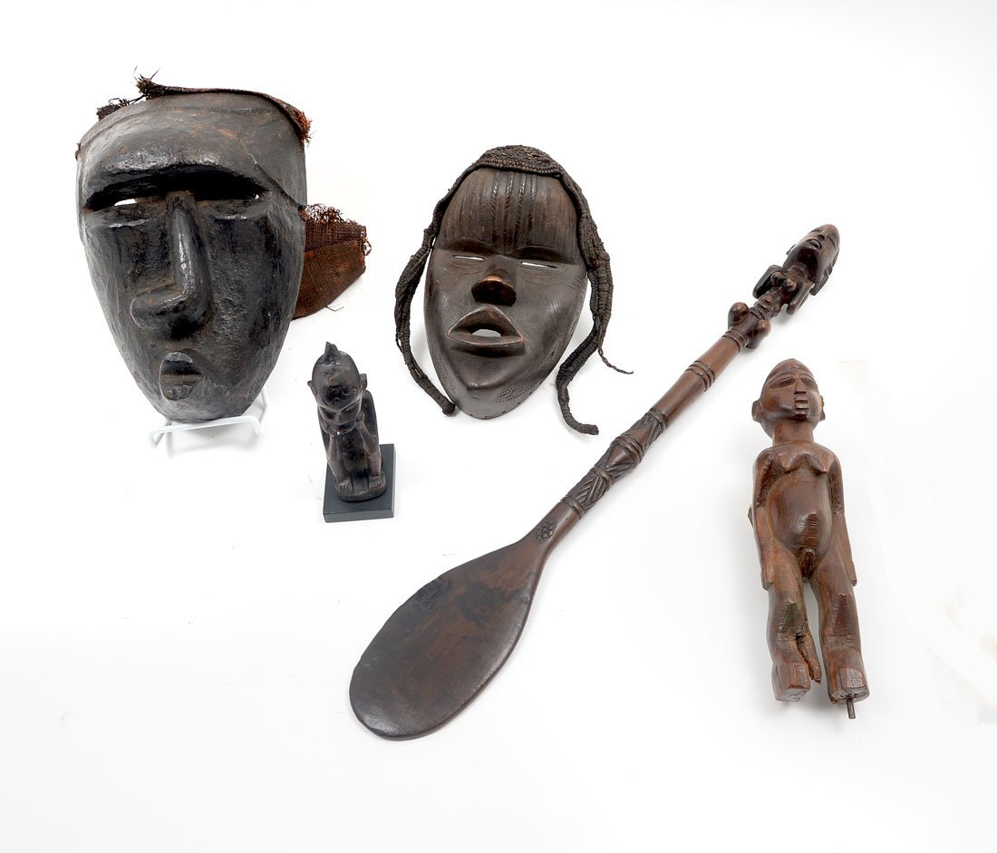 5 PIECE WEST AFRICAN CARVING GROUP