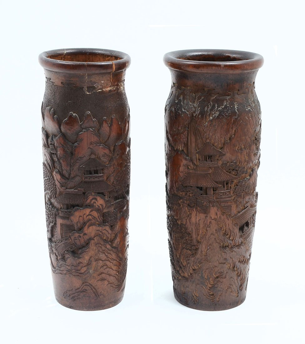 PAIR OF 2 CARVED BAMBOO VASES/BRUSH POTS