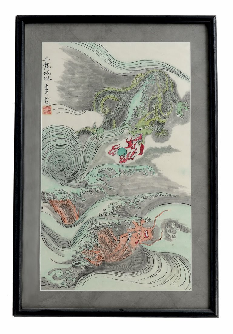 ORIENTAL WATERCOLOR PAINTING DRAGONS