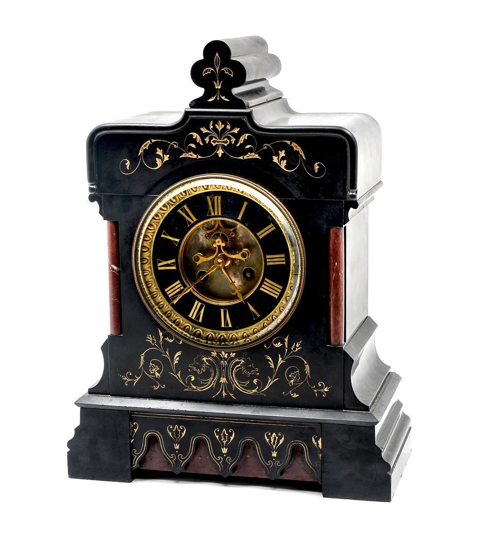 ANTIQUE FRENCH SLATE & MARBLE MANTLE CLOCK