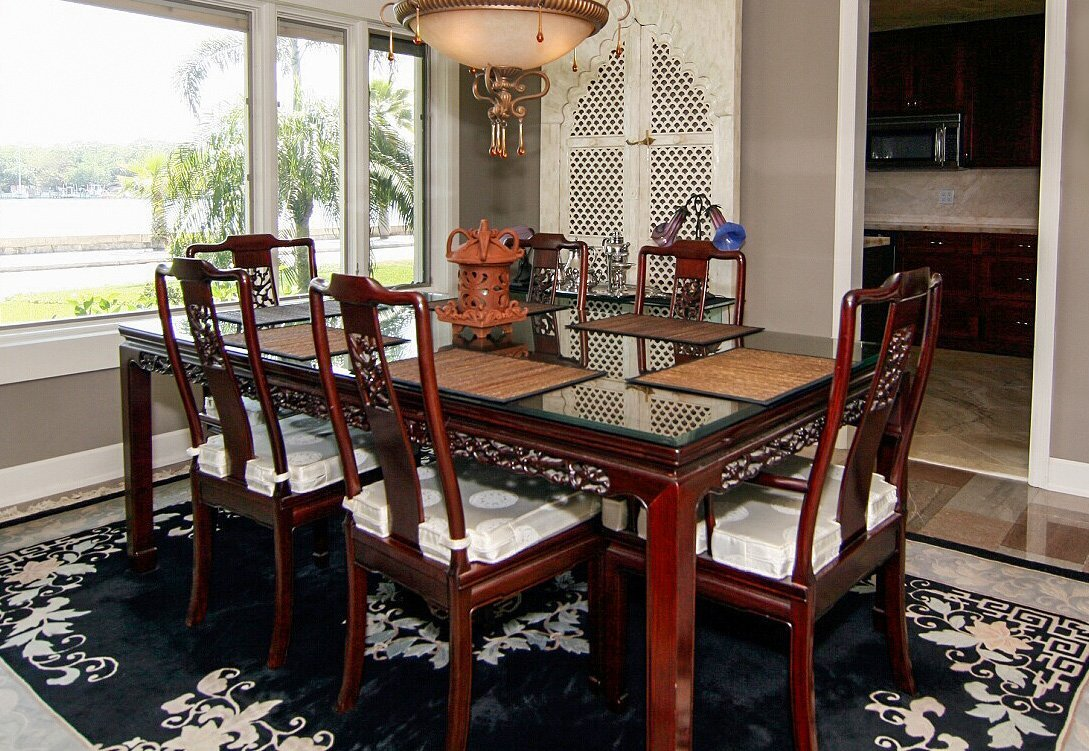 LARGE CHINESE ROSEWOOD TABLE AND CHAIRS DINNING SET