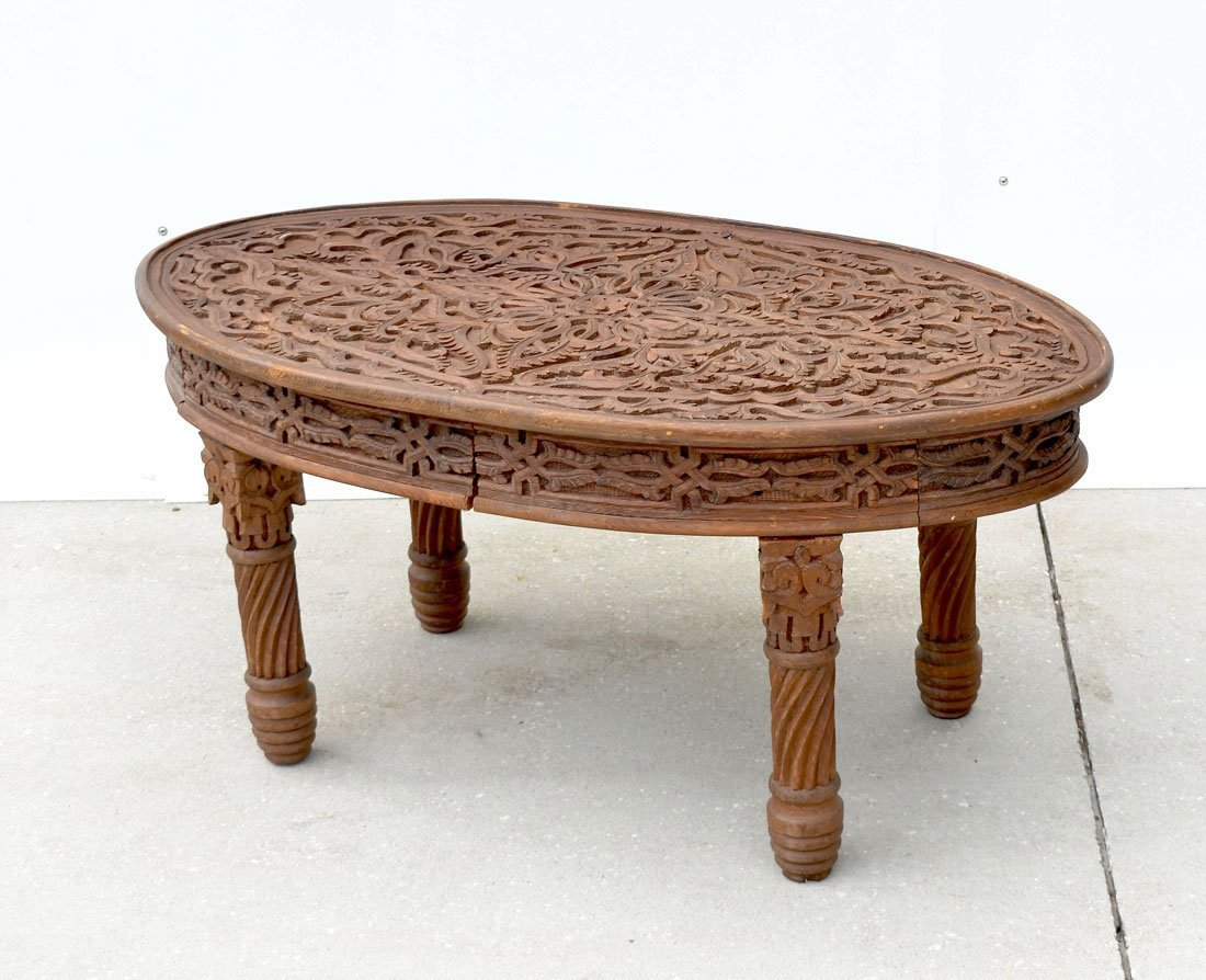INDO-PERSIAN CARVED OVAL TABLE