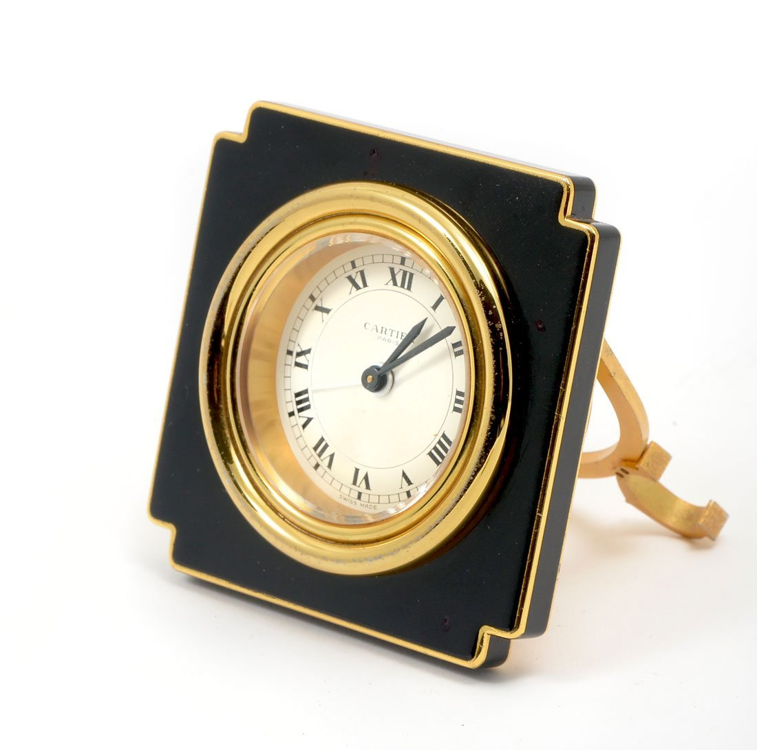 LES MUST DE CARTIER PARIS ENAMELED TRAVEL DESK CLOCK