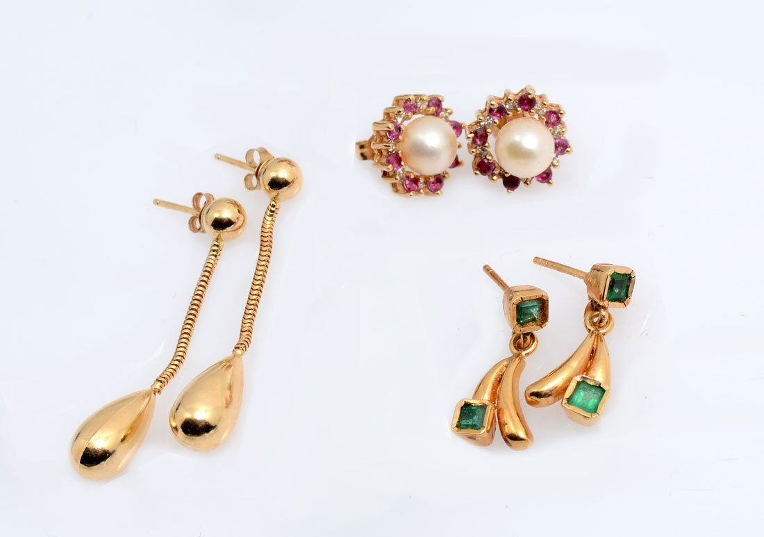 3 PAIR 14K & 18K EARRINGS