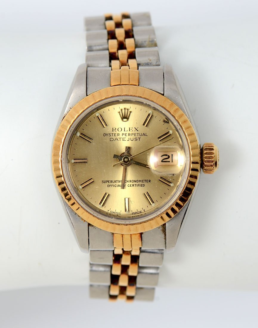 LADIES ROLEX OYSTER PERPETUAL DATEJUST 2 TONE SS WATCH