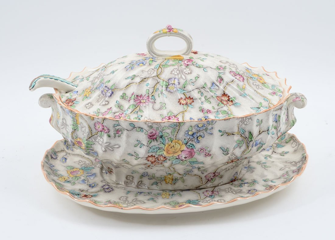 "COPELAND SPODE ""PATRICIA"" TUREEN, UNDER TRAY AND LADLE"