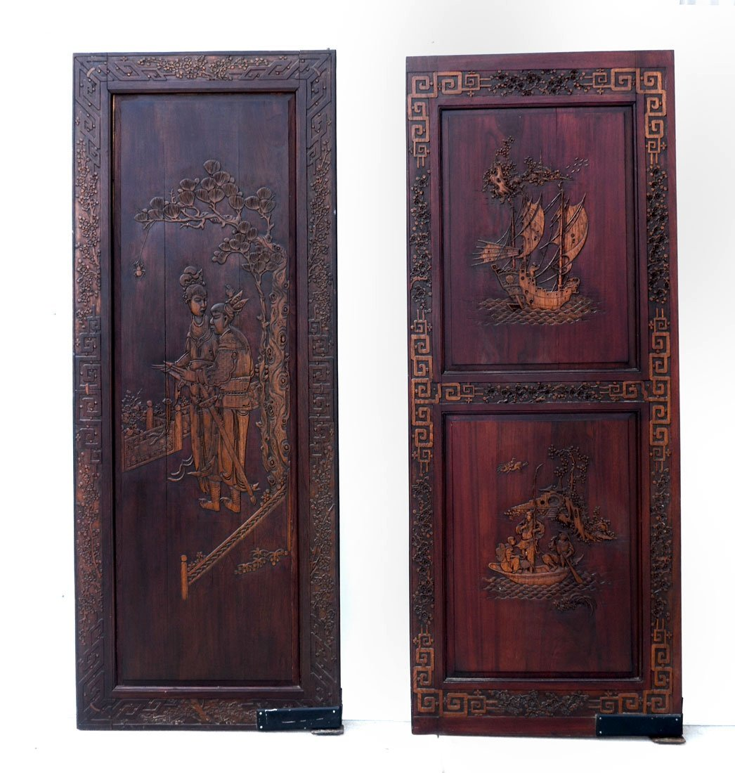 2 CHINESE QING DYNASTY ARCHITECTURAL CARVED ELM DOORS
