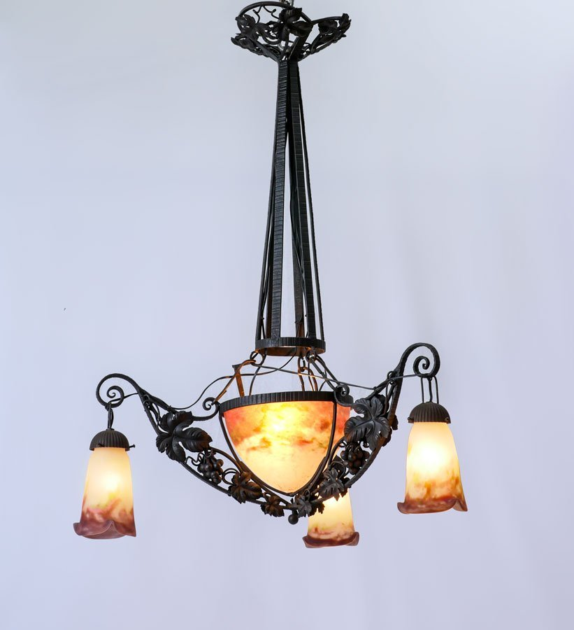DECORATIVE ART NOUVEAU/DECO WROUGHT IRON CHANDELIER
