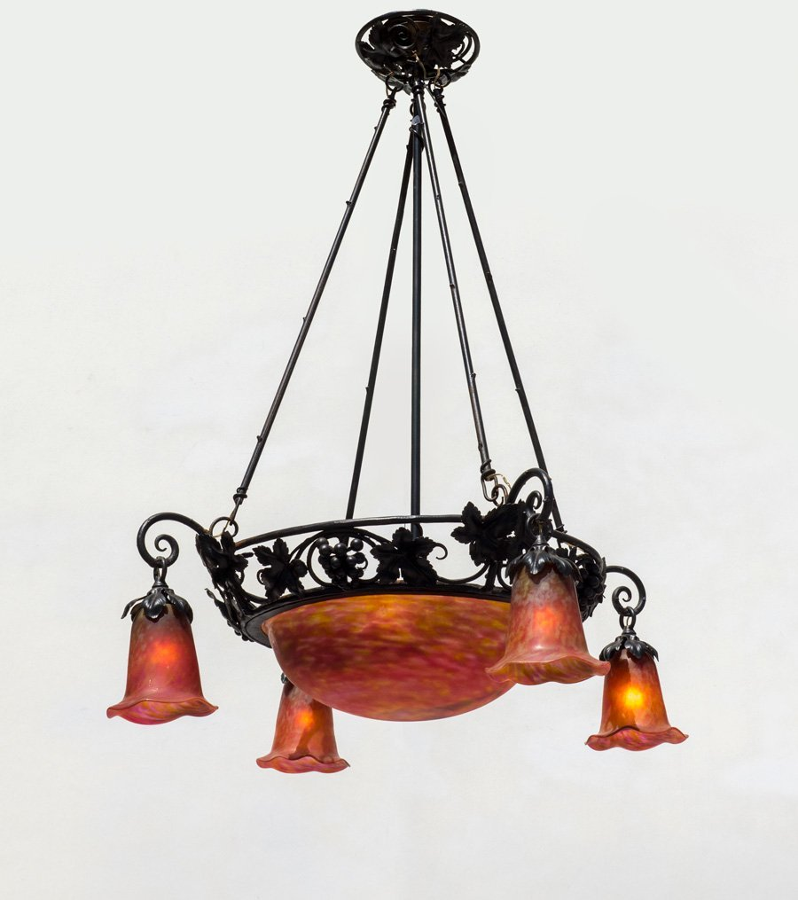 DECORATIVE WROUGHT IRON ART NOUVEAU/DECO CHANDELIER: