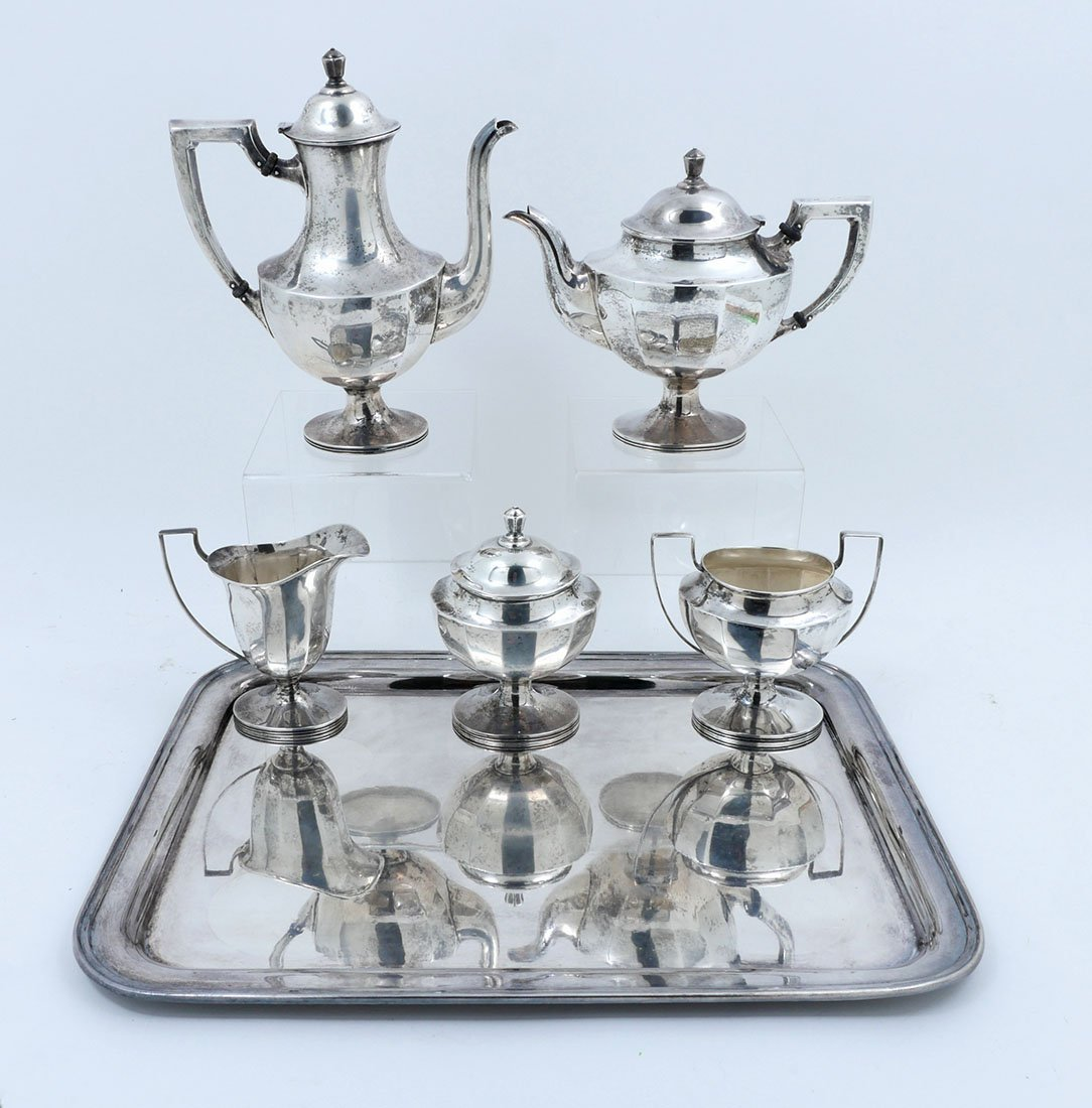 5-PIECE STERLING SILVER SERVING SERVICE WITH TRAY