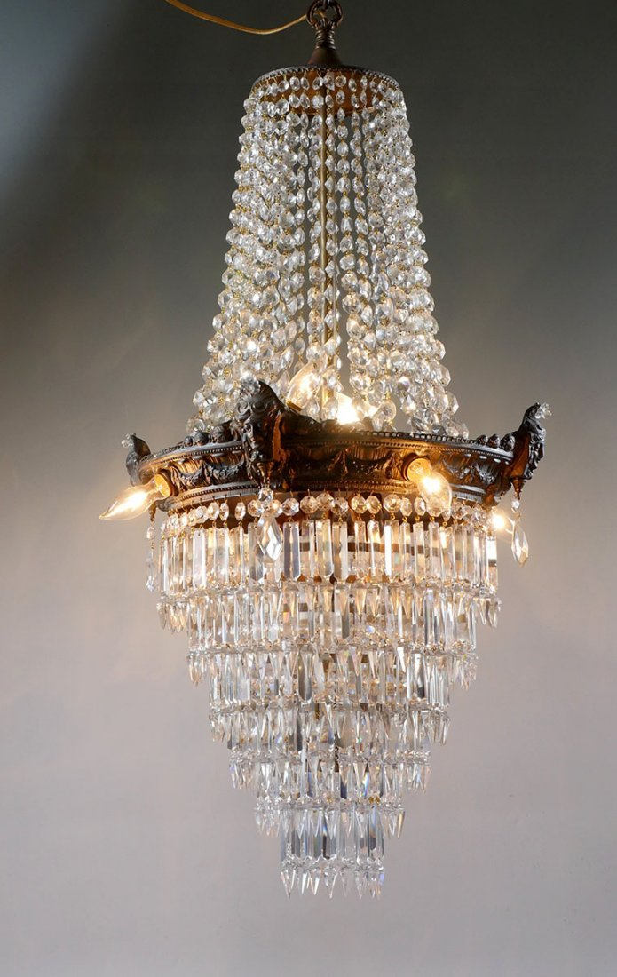 CRYSTAL AND BRASS WEDDING CAKE CHANDELIER