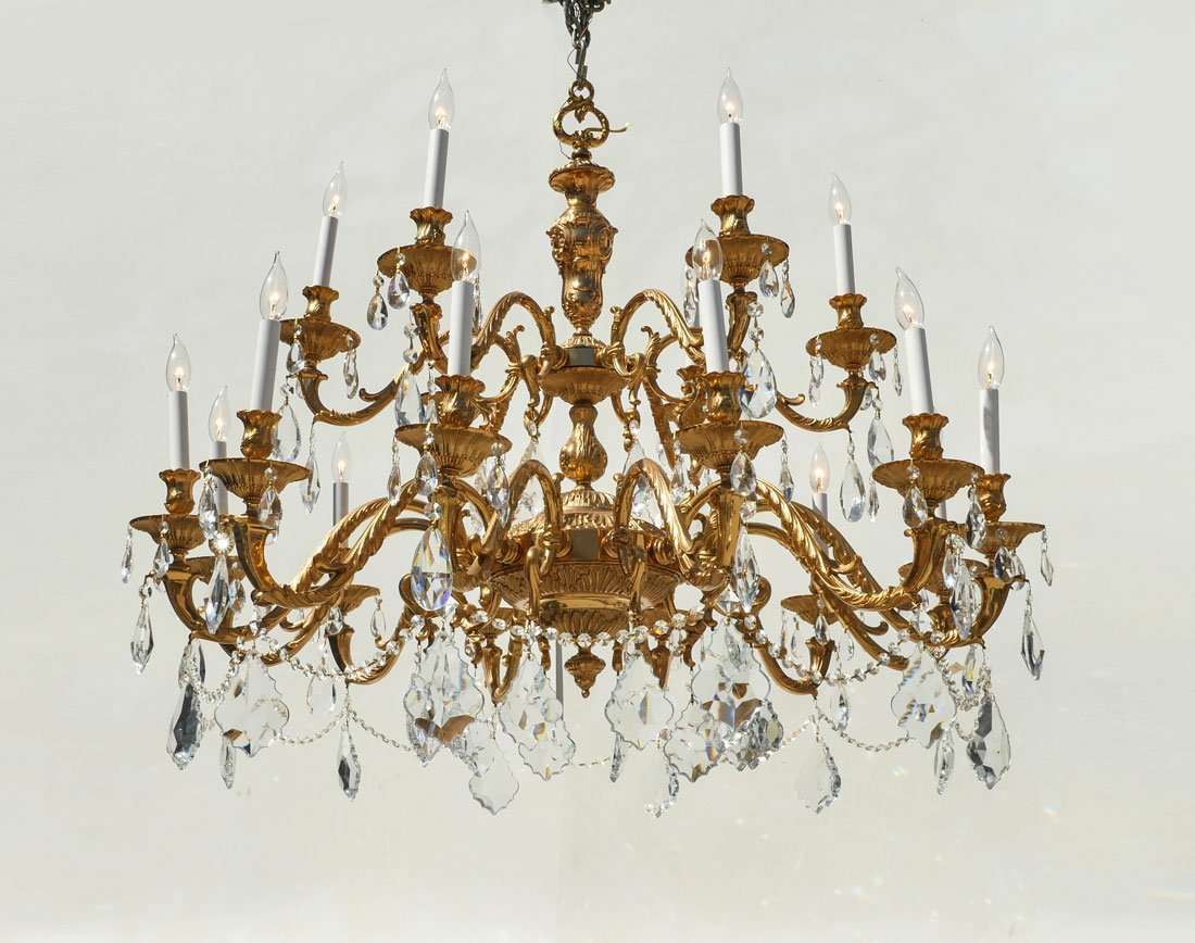 LARGE BRASS AND CRYSTAL CHANDELIER