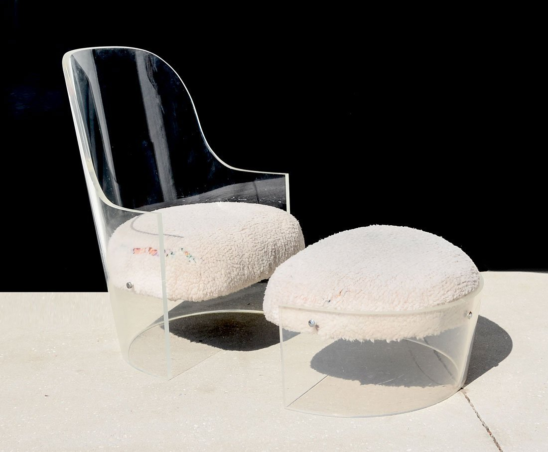 CURVED LUCITE CHAIR AND OTTOMAN