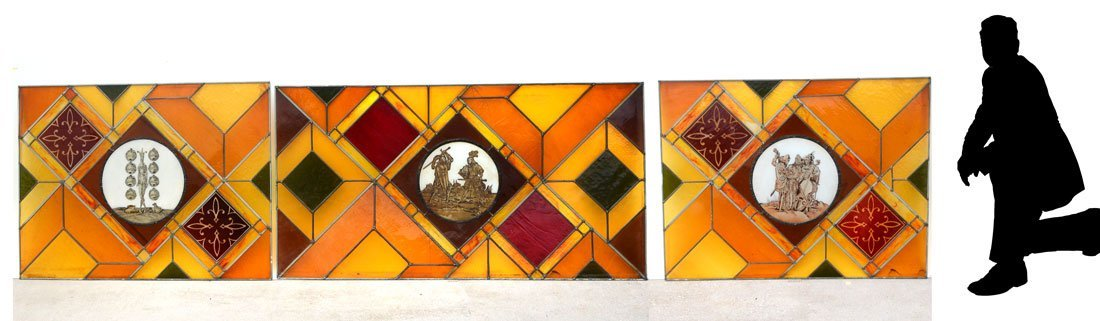 3 FIGURAL STAINED-GLASS PANELS