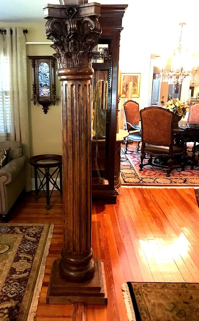 PAIR OF LARGE CARVED WOOD COLUMNS
