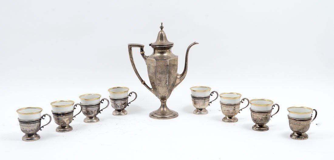 9 PIECE STERLING POT WITH 8 UTSCHENREUTHER SELB CUPS