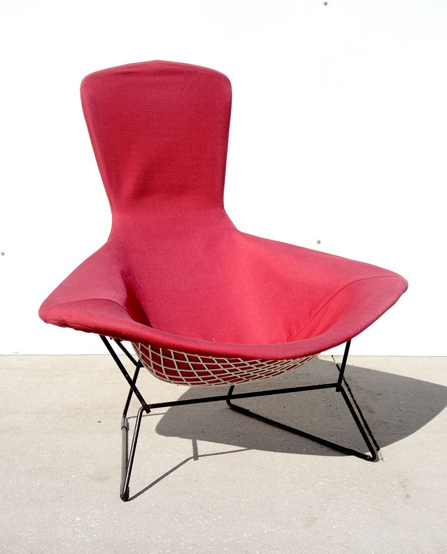 HARRY BERTOIA RED MID CENTURY LOUNGE CHAIR