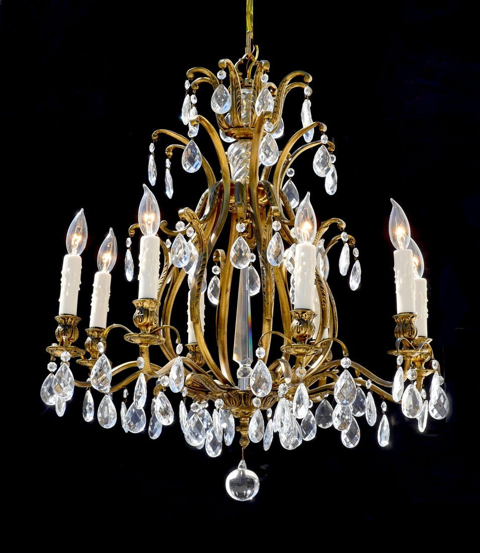 8 LIGHT ART NOUVEAU BRASS AND CRYSTAL CHANDELIER