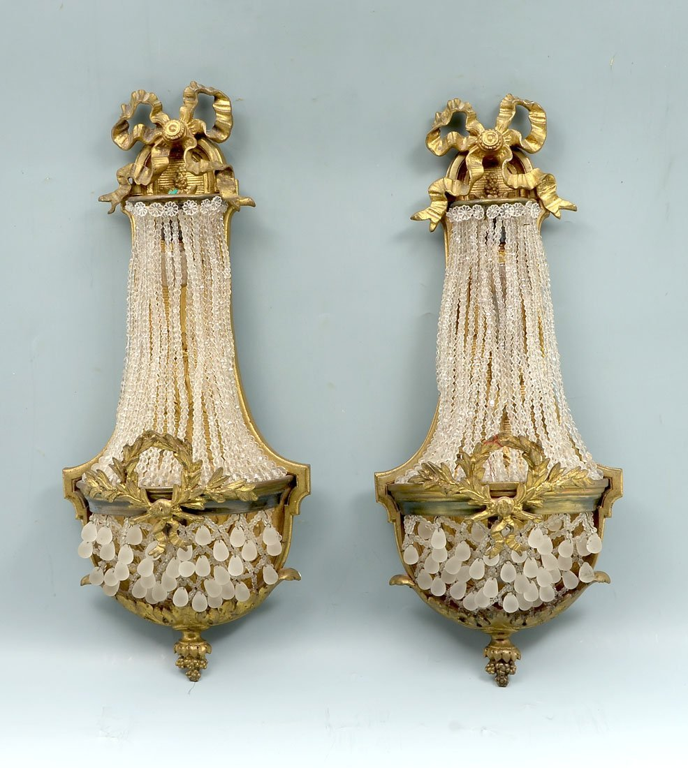 EARLY 20TH CENTURY GILT BRONZE FRENCH SCONCES