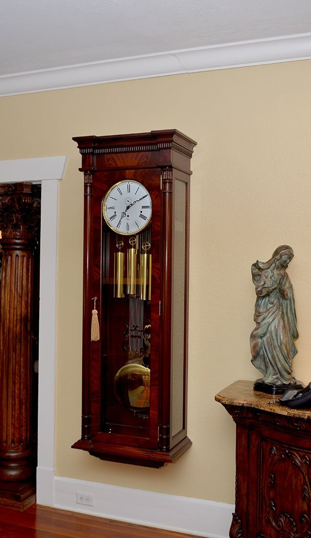 IMPRESSIVE SLIGH MAHOGANY HANGING CLOCK