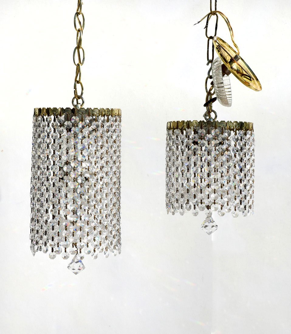 2 VINTAGE SCHONBEK CRYSTAL HANGING LIGHTS