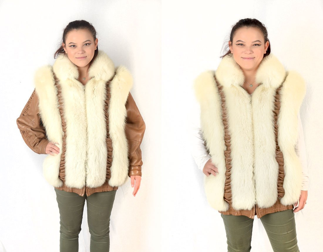 LEATHER & FUR JACKET WITH REMOVABLE SLEEVES