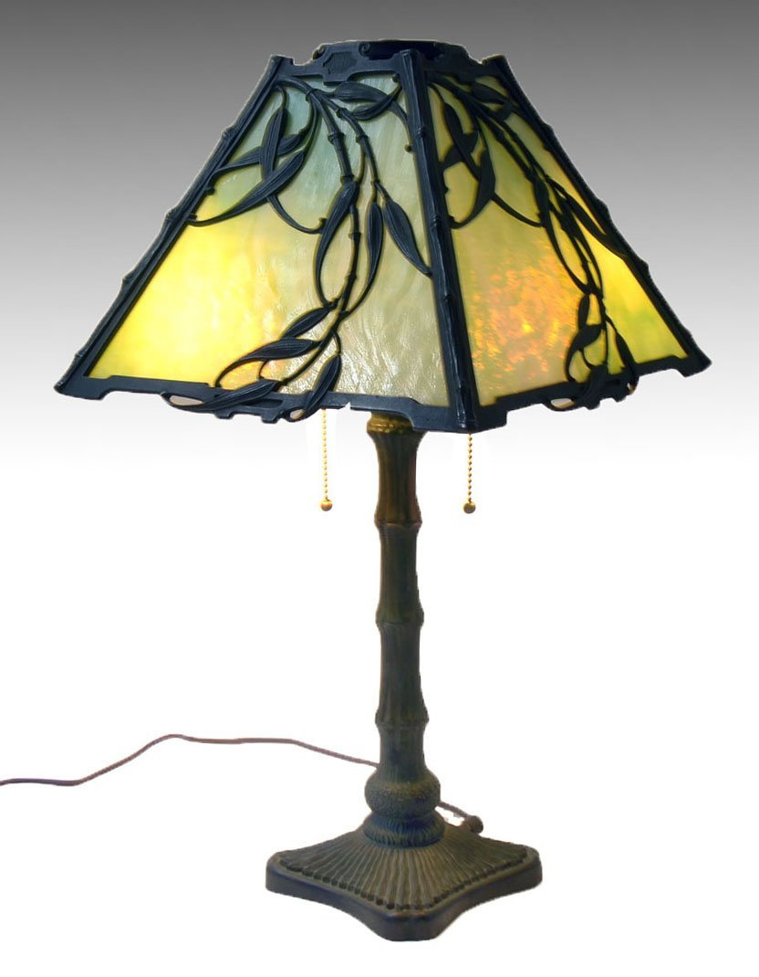 EARLY 20TH PATINATED COPPER SLAG GLASS LAMP