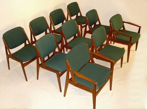1011: SET OF 10 ARNE VODDER MODERNE DINING CHAIRS