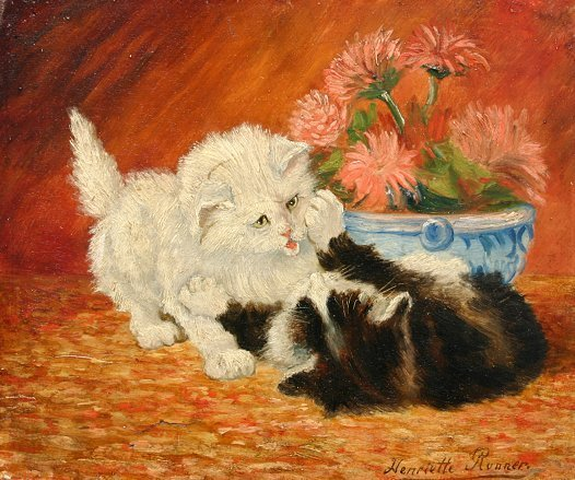1013: AFTER HENRIETTE RONNER KITTENS PAINTING