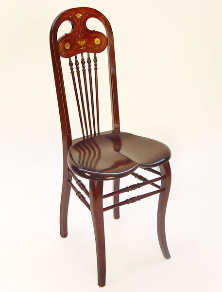 1015: MOTHER OF PEARL INLAY ART NOUVEAU SIDE CHAIR