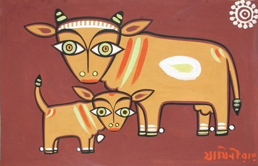 1018: JAMINI ROY GOUACHE OF COW AND CALF