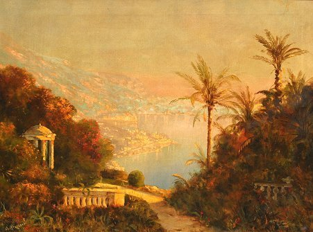 1020: ARNEGGER BAY OF NAPLES PAINTING