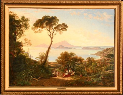 1021: EDUARD DAEGE BAY OF NAPLES PAINTING