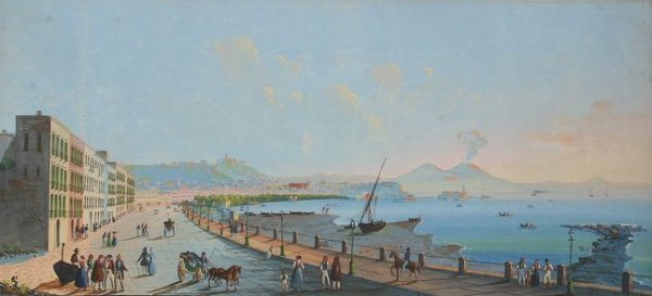 1022: NEAPOLITAN SCHOOL BAY OF NAPLES PAINTING