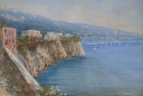 1023: E. GIANNI BAY OF NAPLES PAINTING