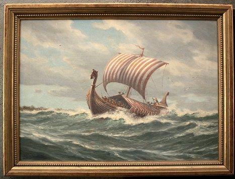 1055: ADOLPH BOCK VIKING SHIP PAINTING