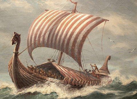 1055: ADOLPH BOCK VIKING SHIP PAINTING - 3