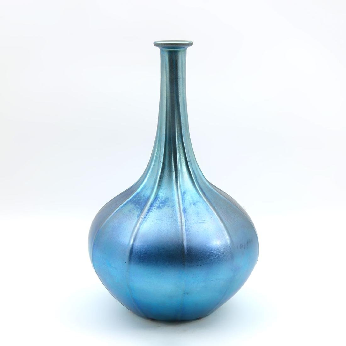 IRIDESCENT PEACOCK BLUE DURAND RIBBED GENIE BOTTLE