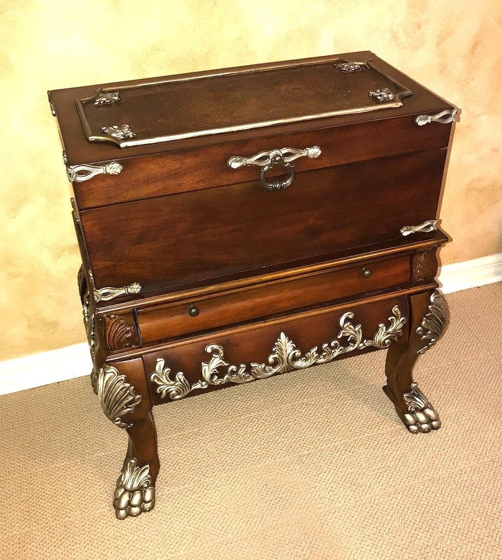 CARVED CHEST AND STAND