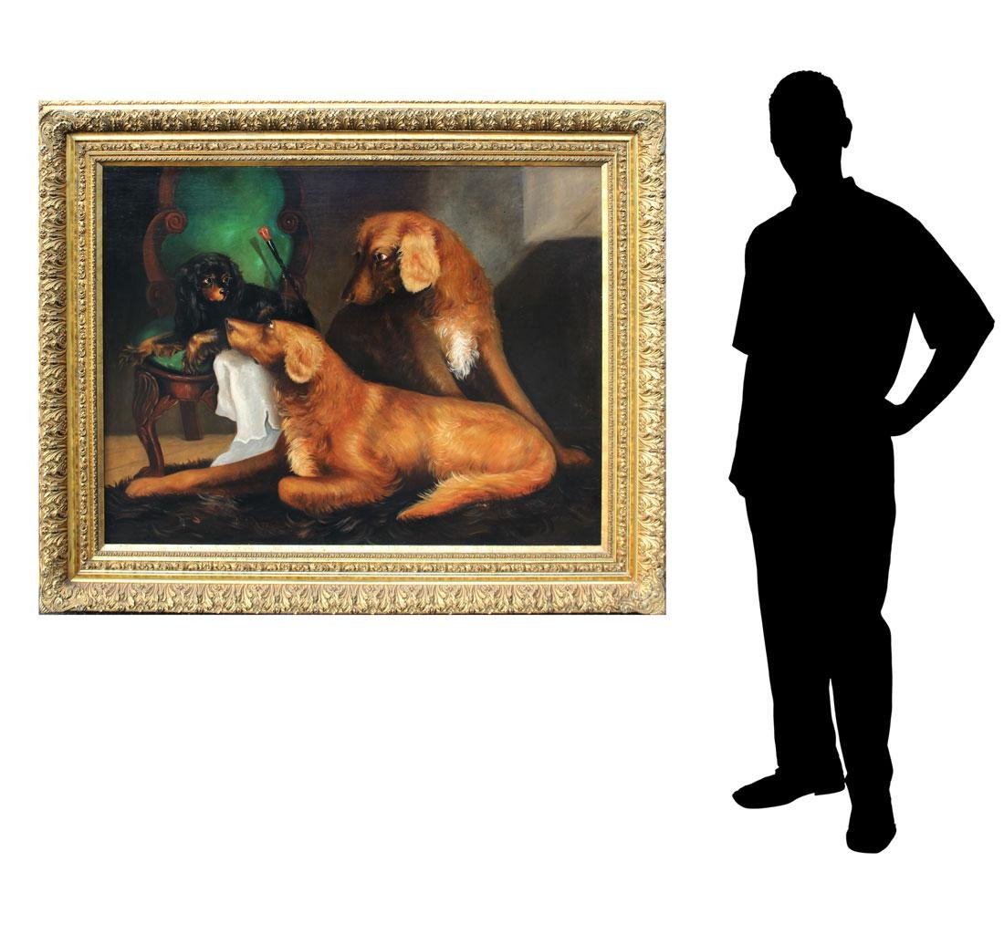 LARGE OIL/CANVAS OF 3 DOGS ATTRIBUTED TO ARMFIELD