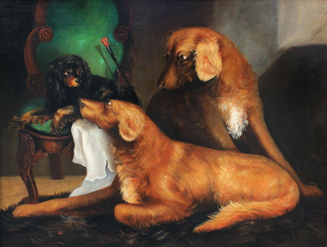 LARGE OIL/CANVAS OF 3 DOGS ATTRIBUTED TO ARMFIELD - 2