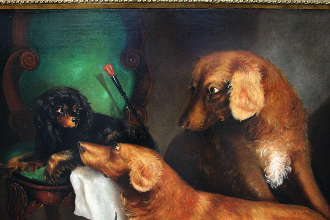 LARGE OIL/CANVAS OF 3 DOGS ATTRIBUTED TO ARMFIELD - 3