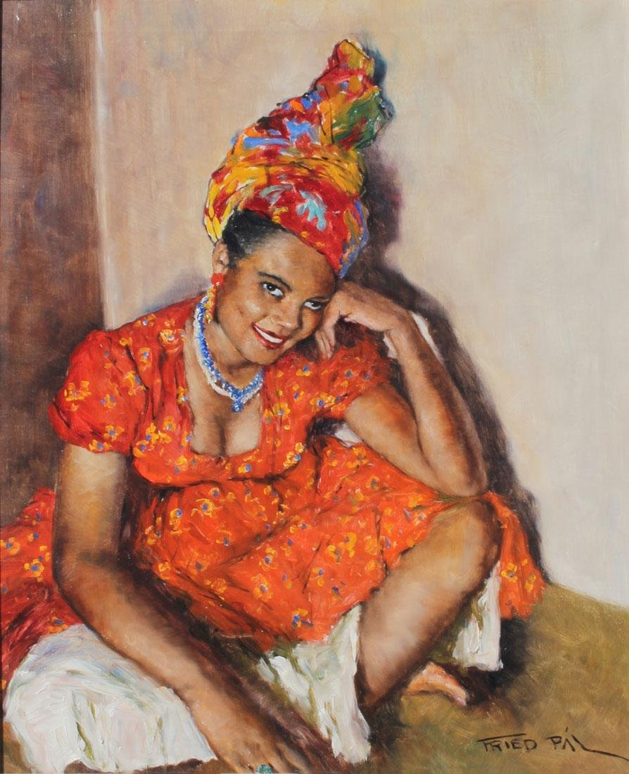 PAL FRIED JAMAICAN GIRL PAINTING