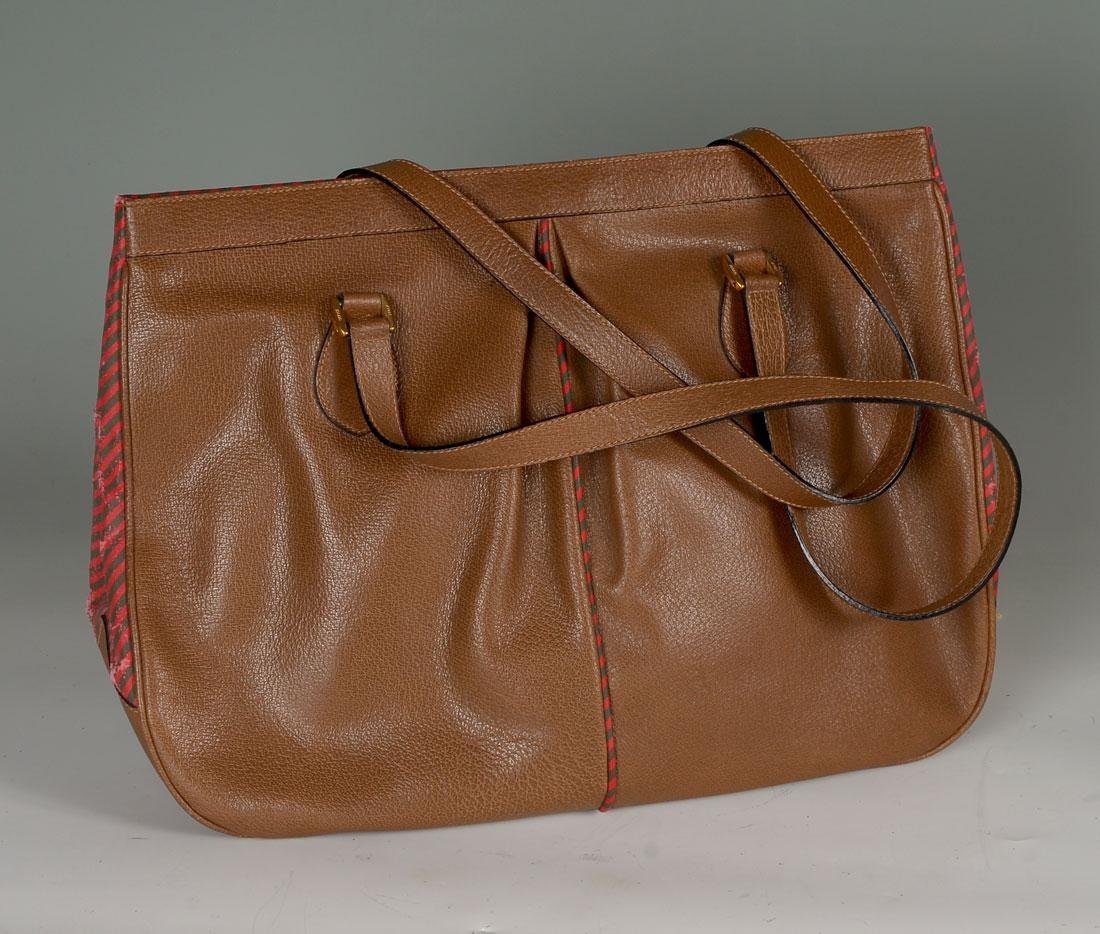 CHOCOLATE LEATHER GUCCI TOTE BAG