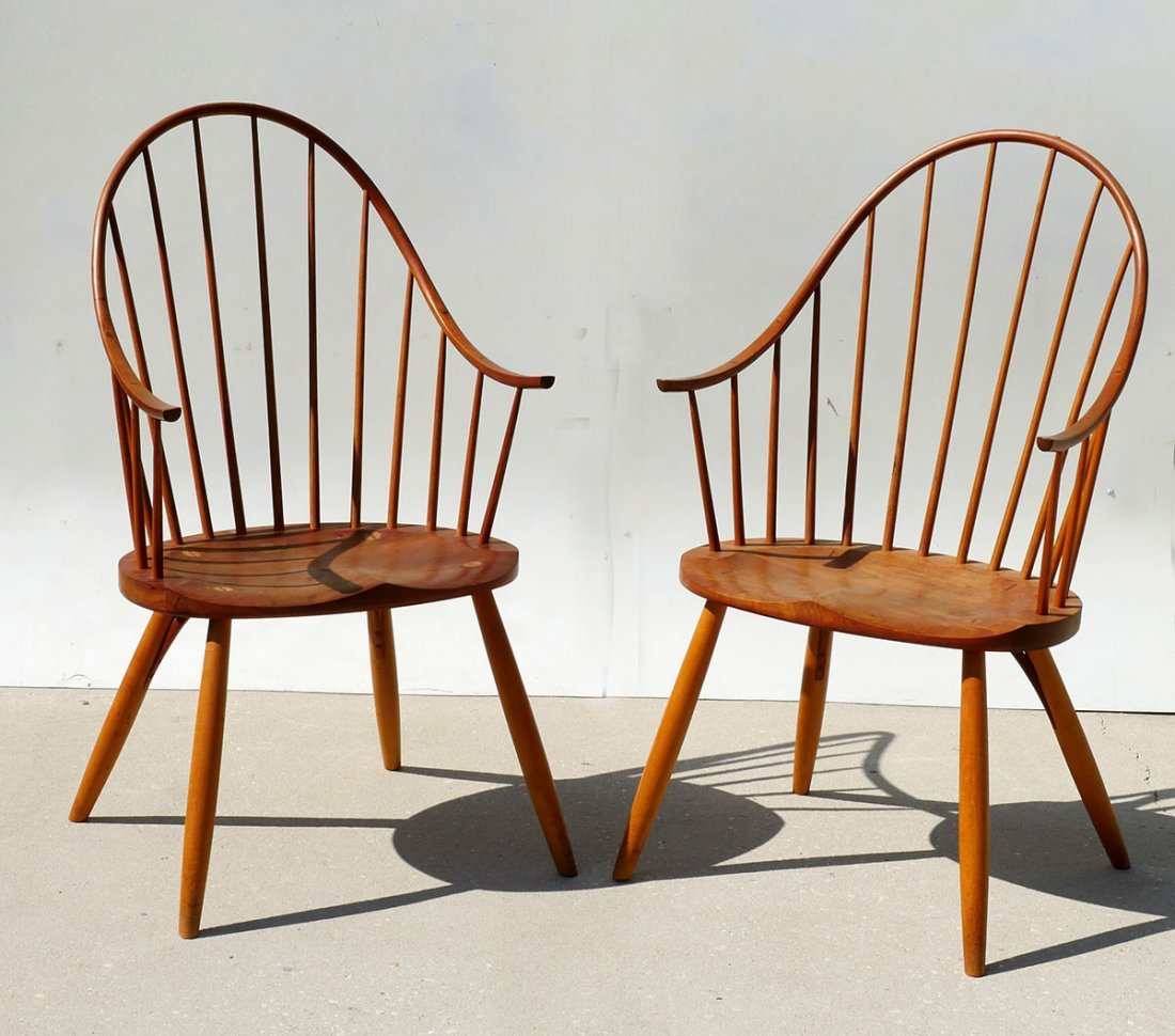 2 THOMAS MOSER SIGNED CONTINUOUS ARM CHAIRS