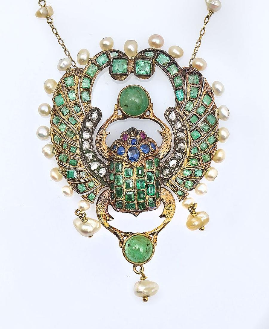 18K EGYPTIAN REVIVAL NECKLACE CA 1860