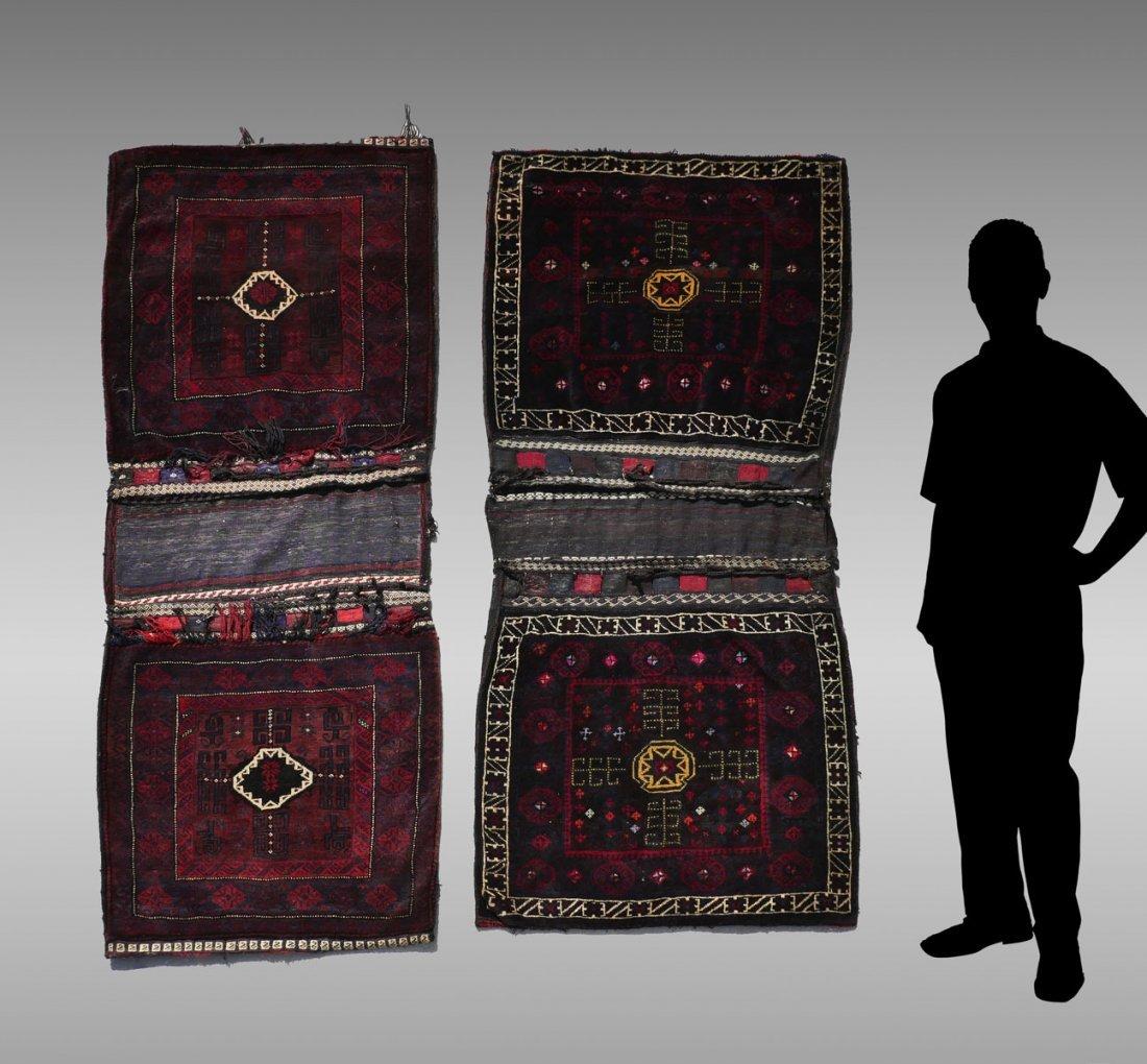 2 PAIR OF COMPLETE PERSIAN HK WOOL SADDLE BAGS