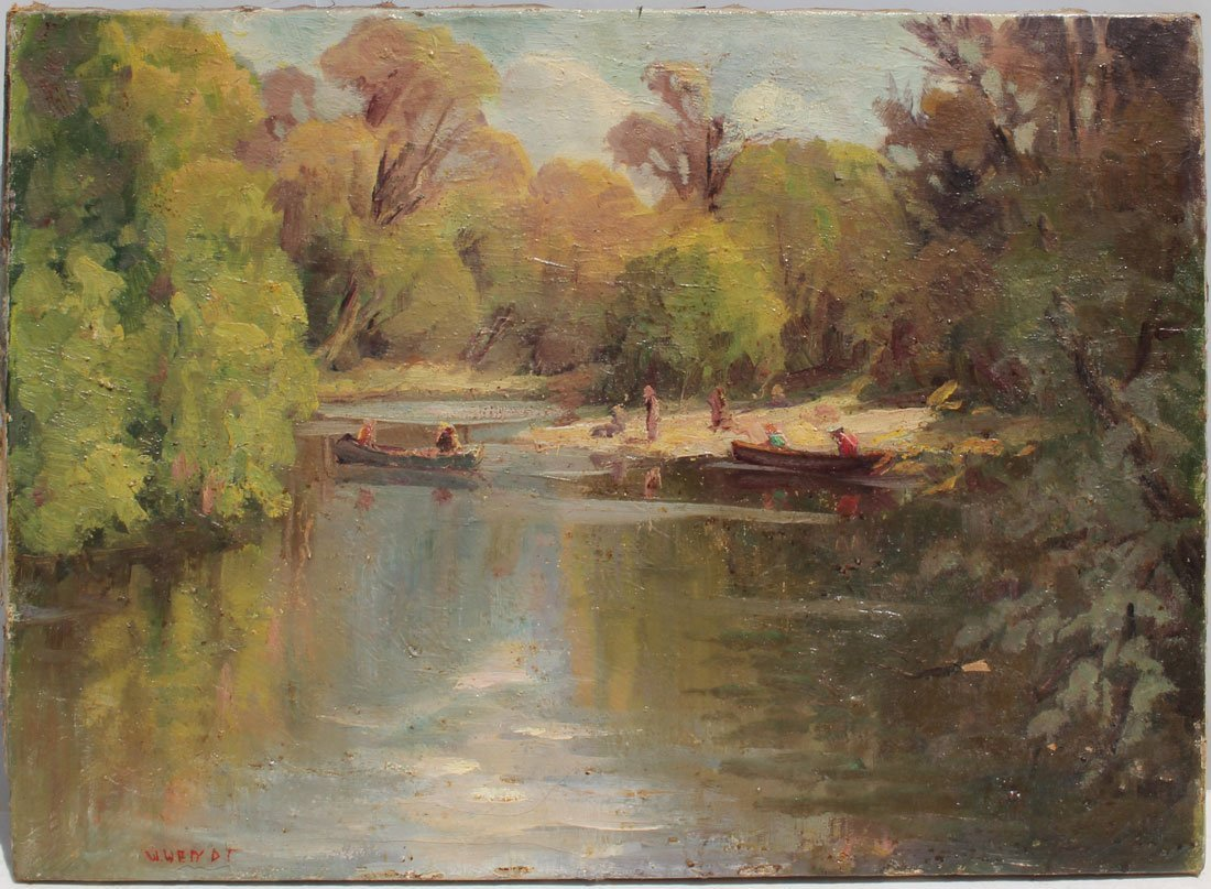 INTERESTING OIL ON CANVAS RIVER SCENE PAINTING